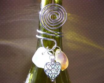 Wine Bottle Heart Locket Topper - Seaglass Locket Beach Glass Bottle Wine Topper Beach Glass Jewelry, Handmade Custom Jewelry Wine Charm