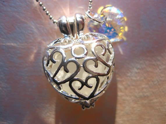 SALE  White seaglass Heart Locket and chain