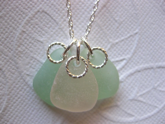 SS Three Friends Seaglass necklace