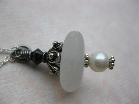 Thick frosty White pearl Antique seaglass necklace