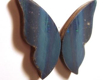 Boulder Opal Australian Coober Pedy Opal Doublet - Butterfly Wings Pair (2 pieces) Cabochon