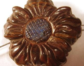 Boulder Opal Carved Opal Flower Bead - Australian Boulder Opal Bead Flower Bead Hand Carved