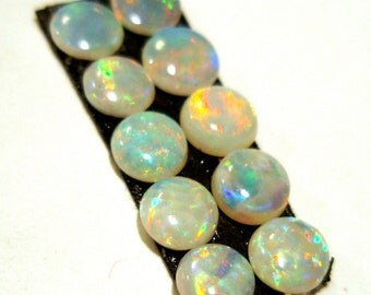 Boulder Opal Cabochon 3.5mm Round Solid Australian Natural Confetti Pinfire Sparkle 10 Pieces Perfect Stacking Rings Coober Pedy Designer