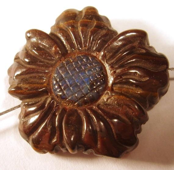 reserve for quartz Boulder opal Carved Opal Flower Bead - Australian Boulder Opal Bead Flower Bead Hand Carved