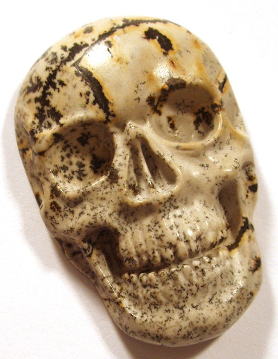 Carved Skull Cabachon - Japanese Picture Jasper  - Rare Unusual - Natural