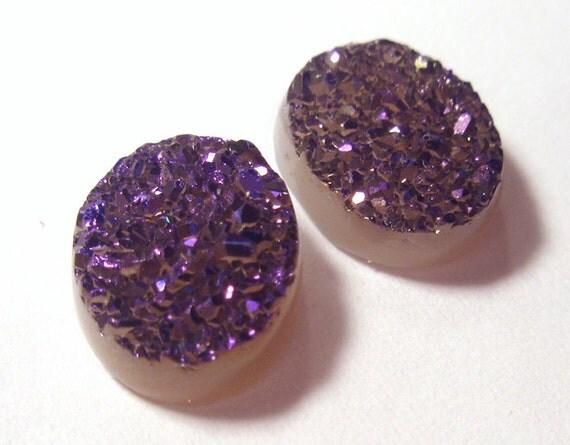 Purple Druzy Quartz Designer Cabochon - Dyed - Pair - 2 pieces