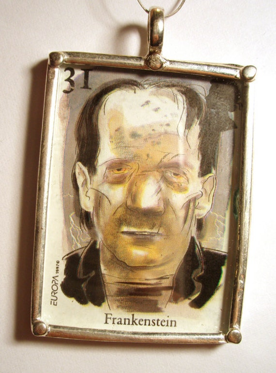 Reserve for Chriss London Stamp Pendant Frankenstein Monster Silver Metal Scary Haloween Queen Mary Ready for Stringing or Jewelry