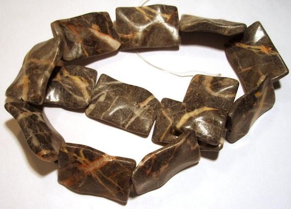 Granite Wavy Rectangle Focal Beads Flat