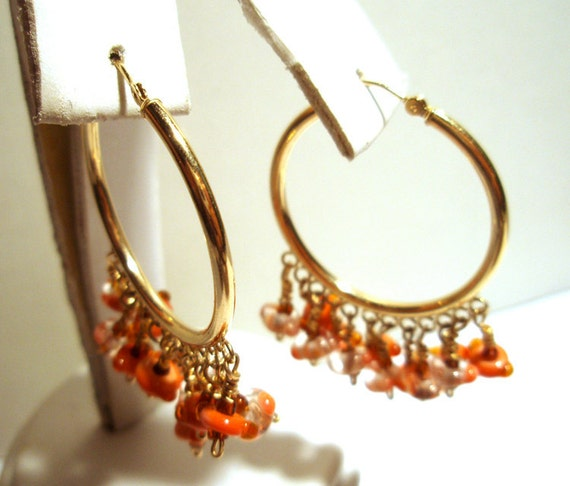 Chandalier Earrings 14kt Gold One of a Kind Handmade by Lisajoy Sachs - Size Large Hoop - Perfect for a Gift
