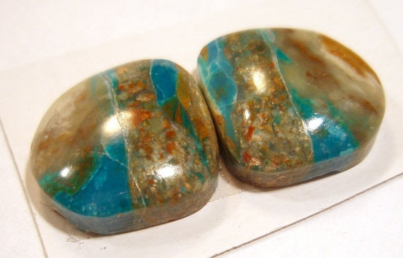 Peruvian Blue Opal Matched Pair of Cabochons (2 pieces) Awesome Natural Color - Perfect for Earrings