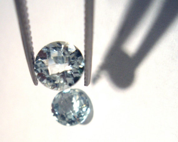RESERVED for  jbgrant2 Aquamarine 6mm Brilliant Checker Cut Gem Stone Round Pair of 2 Stones