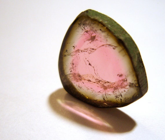 RESERVED for Bonnie Watermelon Tourmaline Slice  Cabochon - 6.8 Carats True Natural Color Gem Stone