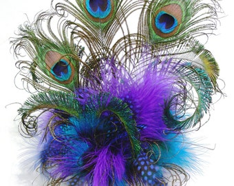Feather Cake Topper with Peacock or your choice of feathers and colors for your Wedding, Birthday, Shower or any Special occasion cake