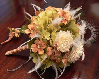 Bridal Bouquet, Carolina on my mind, in peach dogwood blooms with green hydrangea, and ivory dahlias and Feathers