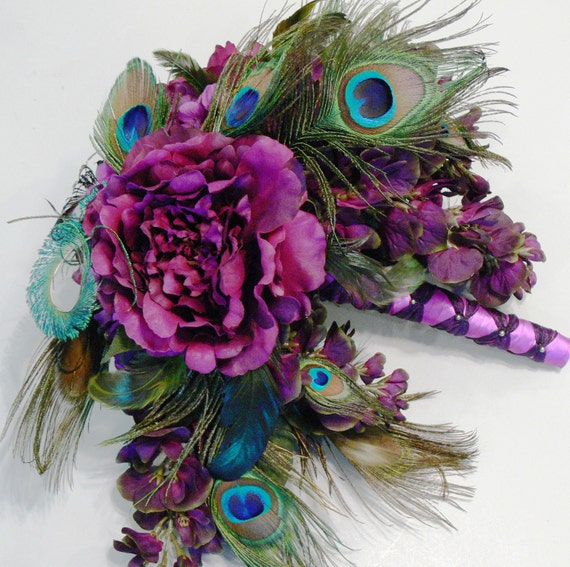 Plumluscious Peacock Bridal Wedding Bouquet in plum purple burgundy and green hues