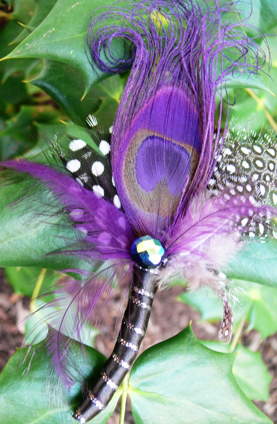 4 Purple Peacock Pin Boutonnieres for Shawna as pictured