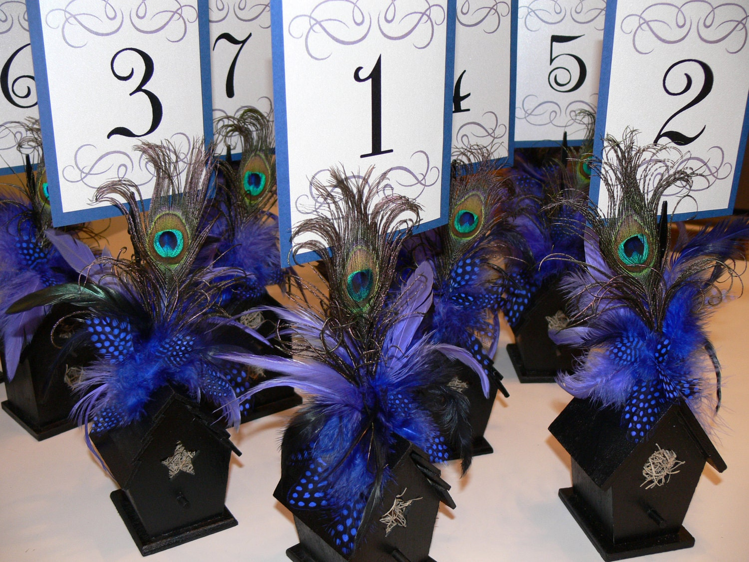 Superb img of Table Number holders Wooden Birdhouse with by HappilyFeatherAfter with #2B3275 color and 1500x1125 pixels