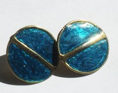 2 Early 80s Vintage Metallic Blue Bubble Circle Ocean Earrings Studs