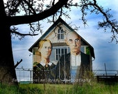 American Gothic on Iowa Barn - Grant Wood Replica Painting - Color Photograph - Room Decor -  Handmade Photograph, Iowa