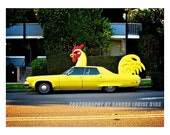Fine Art Photo, Red and Yellow Chicken, Rooster Car, Los Angeles, California, Americana Photo, Sandy Dyas, Fine Art Wall Decor Photograph