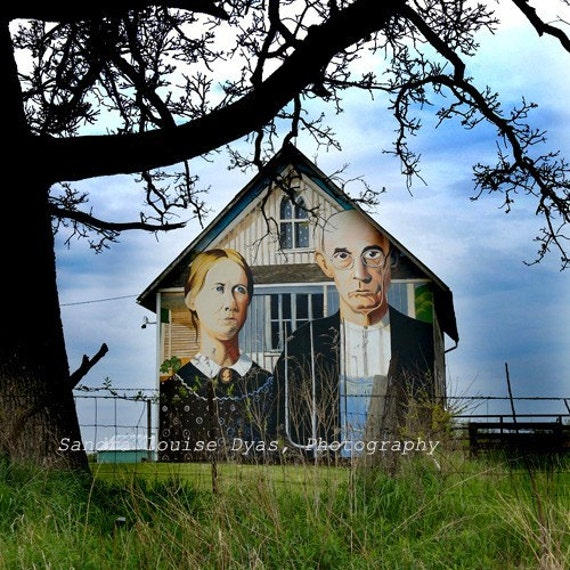 American Gothic on Iowa Barn - Grant Wood Replica Painting - Color Photograph 12 x 12 - Fine Art