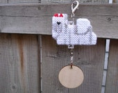 Maltese dog Crate Tag decorative art display hang anywhere hand stitched by dog artist, Magnet option
