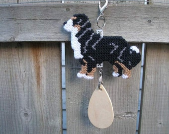 Bernese Mountain Dog crate tag or hang anywhere, Magnet Option, hand stitched needlepoint hanger art