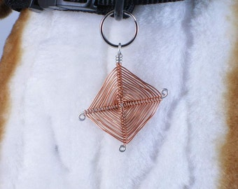 God's eye weaved pendant -  symbol of good fortune, Pet collar charm, jewelry for dogs or people