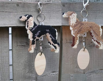 Saluki canine home decor hang anywhere crate tag, hand stitched original art, Magnet option