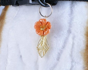 Hibiscus Paradise - pet collar charm dog jewelry or people pendant, wire wrapped wearable art