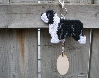 Bearded Collie dog hang anywhere crate tag, collectible art hand stitched needlepoint art, Magnet Option