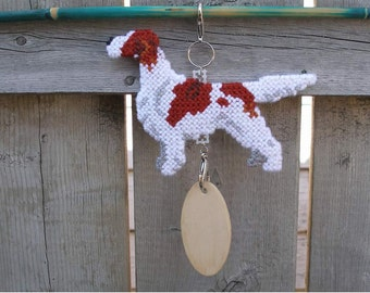Irish Red and White Setter crate tag dog or hang anywhere, Magnet Option, kennel accessory handmade original art