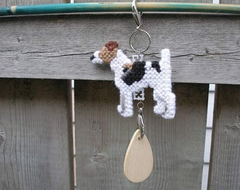 Smooth Fox Terrier crate tag - dog kennel or hang anywhere, Magnet option, hand stitched needlepoint art
