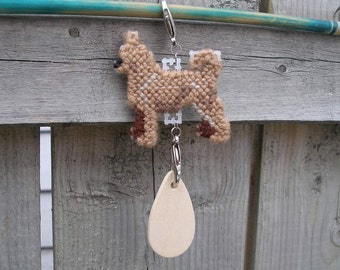 Chihuahua Smooth Coat crate tag - dog art accessory hang anywhere, handmade needlepoint art, Magnet option