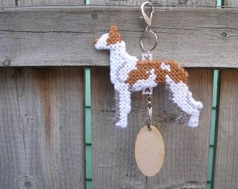 Ibizan Hound hang anywhere crate tag, dog art hand stitched original art, Magnet option