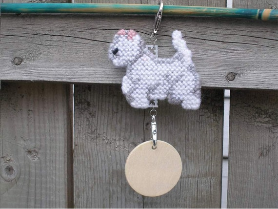 West Highland White Terrier westie home decor hang anywhere crate tag, dog art hand stitched needlepoint, Magnet option