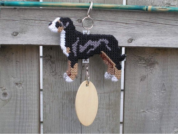 Greater Swiss Mountain Dog MT home decor accessory hang anywhere crate tag, hand stitched needlepoint, Magnet option