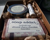 chocolate and cherry essentials gift set - soap, lotion bar and lip balm