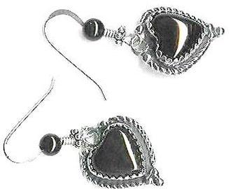 18mm black onyx sterling heart earrings
