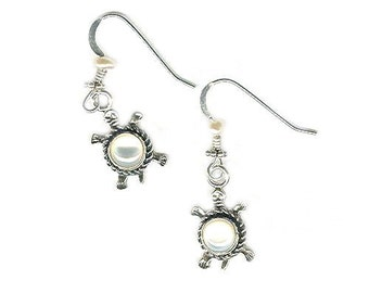 Sterling silver turtle white mother-of-pearl earrings delicate dainty lightweight