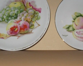 Two Very Old Fruit Plates of Peaches