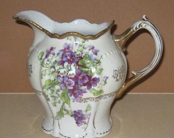 Antique German Porcelain Pitcher with Violets