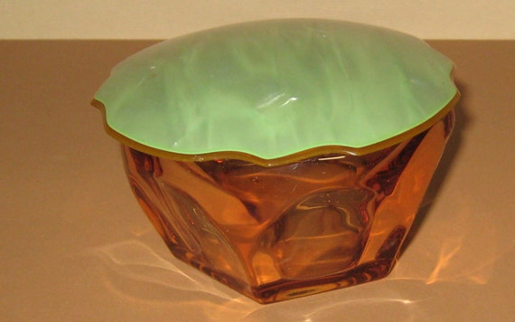 Antique Amber Glass Dresser Pin Box w Green Celluloid Lid Quite Unusual