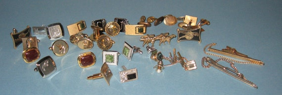 Bunch of Older Cuff Links and Tie Tacks