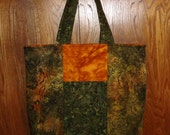 Green and Gold Batik Reversible Tote/Market/Travel Bag with FREE Origami Card Case