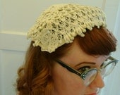 vintage ivory lace and rhinestone hat 50s