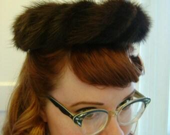 dark brown mink fur hat 40s