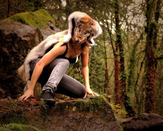 RESERVED - Genuine Silver Timber Wolf Skin Headdress