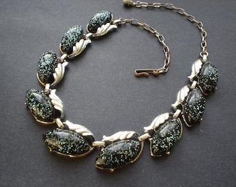 Mid Century  glitter plastic & metal necklace