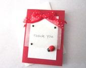 CLEARANCE - Mini Thank You Card - Ladybug mini Thank You Card -